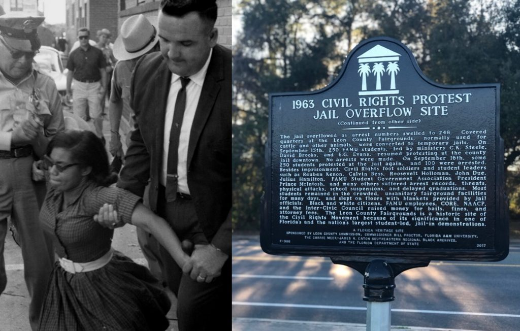 Florida Memory. (May 30, 1963). Patricia Stephens Due being arrested after defying restraining order with others at the State Theatre in Tallahassee. Image 2, 1963 Civil Rights Protest Jail Overflow Site Historic Marker.