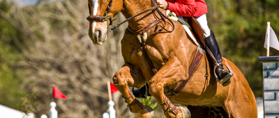 Person riding a horse over an obstacle