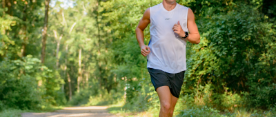Jogger on a un-paved trail