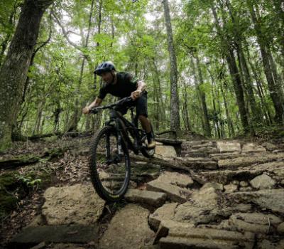 Dirt biking through trails